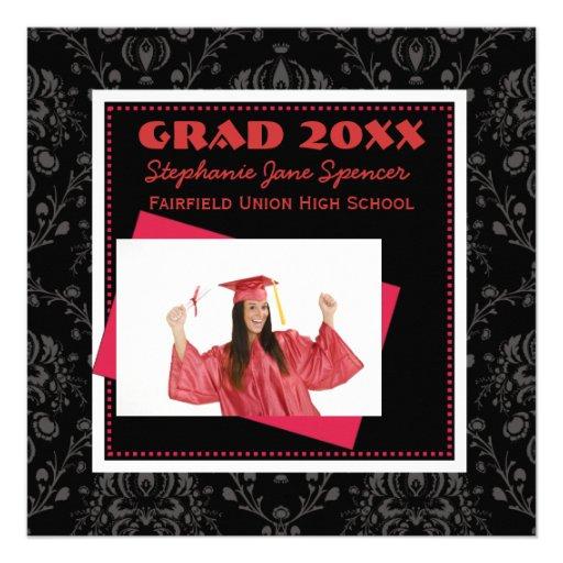 Damask Black & Red Graduation Announcement