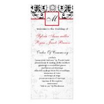 Damask black red MONOGRAM Wedding program
