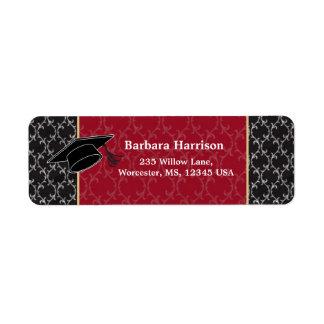 Damask black, red, mortar Graduation Label