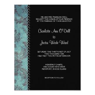 damask black; wedding card