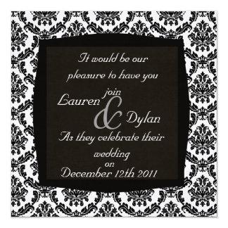 DAMASK BLACK & WHIT  Wedding Invitation