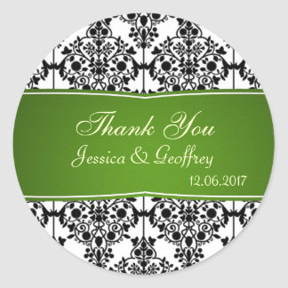 Damask black, white and green Thank you Wedding St Classic Round Sticker