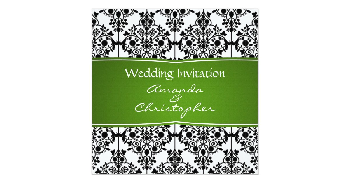 White And Green Wedding Invitations: Damask Black, White And Green Wedding Invitation