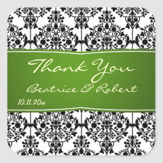 Damask black, white and green Wedding Thank You Square Sticker