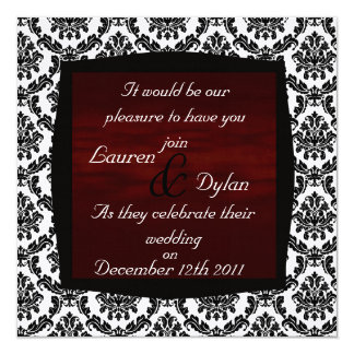 DAMASK BLACK & WHITE & Dark Reddish Wedding Invata 5.25x5.25 Square Paper Invitation Card