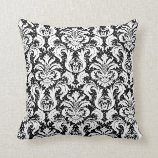 Damask Black White Elegant Glitter Lux Throw Pillow