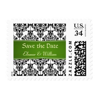 Damask black, white, green Save the Date Postage