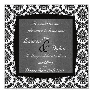 "DAMASK BLACK & WHITE & Grey  Wedding Invitation 5.25"" Square Invitation Card"