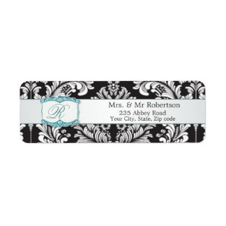 Damask black white Monogram R Wedding Avery Label
