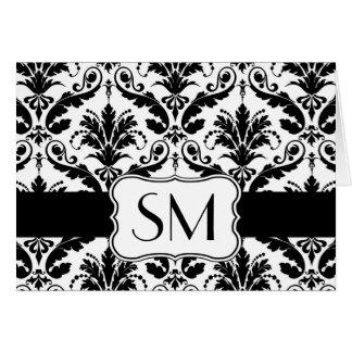 Damask black white Monogrammed  Thank you Card