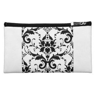Damask Black White Pattern Design Makeup Bag