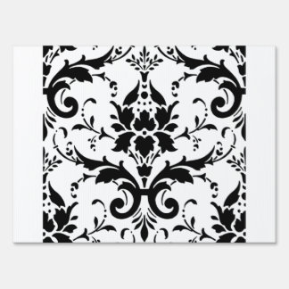 Damask Black White Pattern Design Sign