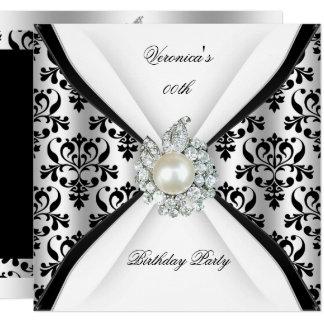 Damask Black White Pearl Diamond Birthday Party Card
