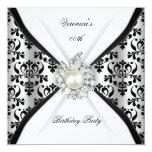 "Damask Black White Pearl Diamond Birthday Party 5.25"" Square Invitation Card"