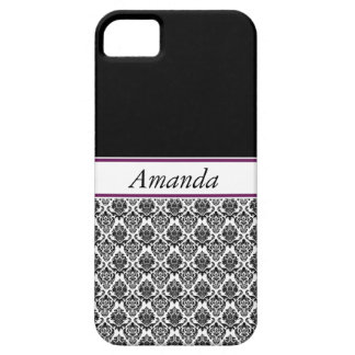Damask Black White Personalized iPhone 5 Covers