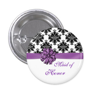 Damask black white purple bow Maid of Honor Button