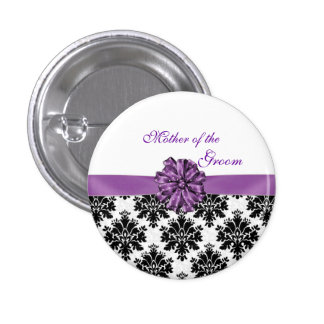 Damask black white purple bow Mother of the Groom Button