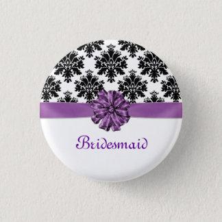 Damask black white purple bow Wedding Bridesmaid Pinback Button