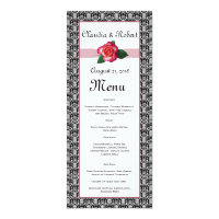 Red black and white anniversary invitations announcements zazzle damask black white red rose wedding menu stopboris Image collections
