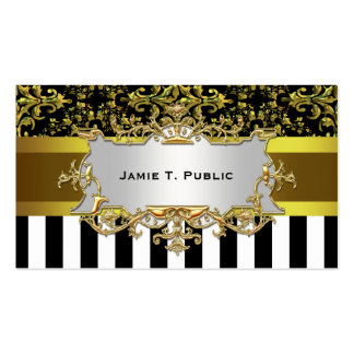 Damask, Black White Stripe Gold Ribbon, Gold Label Business Card Template