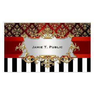 Damask, Black White Stripe, Red Ribbon, Gold Label Business Card