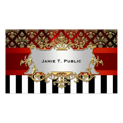 Damask, Black White Stripe, Red Ribbon, Gold Label Business Cards