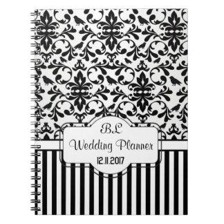 Damask black white stripes Wedding Planner Noteboo Notebooks