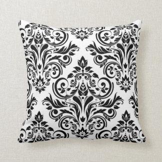 Damask - black white throw pillow