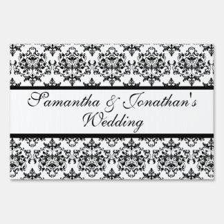 Damask black white wedding engagement sign