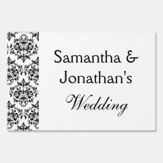 Damask black white wedding engagement yard sign
