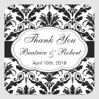 Damask black, white Wedding Thank You Square Sticker
