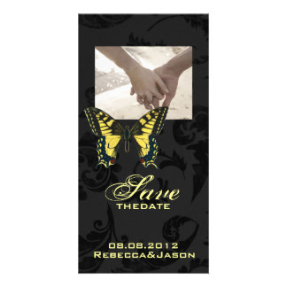 damask black yellow butterfly wedding card
