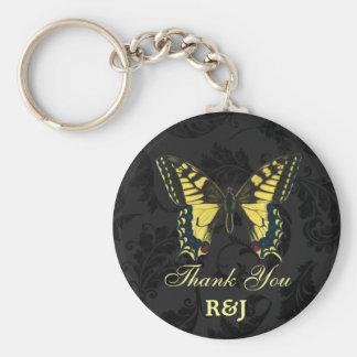 damask black yellow butterfly wedding favor keychain
