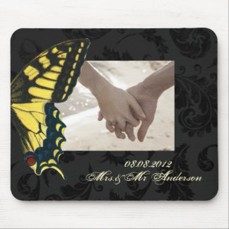 damask black yellow butterfly wedding mouse pad