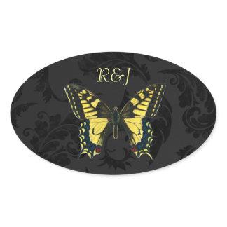 damask black yellow butterfly wedding oval sticker