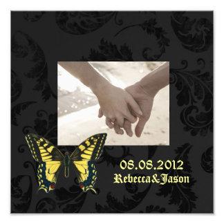 damask black yellow butterfly wedding photo print