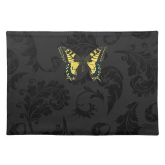damask black yellow butterfly wedding placemat
