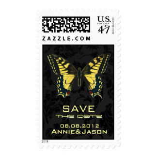 damask black yellow butterfly wedding postage