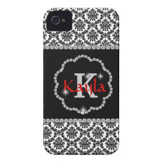 DAMASK BLING MONOGRAM  IPHONE4 CASE iPhone 4 COVER