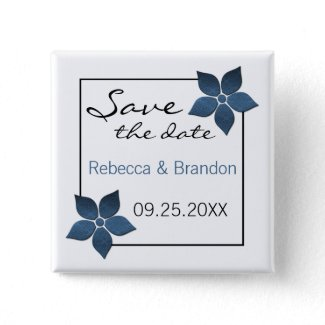 Damask Blooms Save the Date Button button