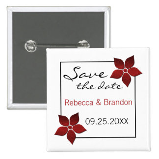 Damask Blooms Save the Date Button, Red Pinback Button