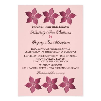Damask Blooms Wedding Invitation, Fuchsia 5x7 Paper Invitation Card
