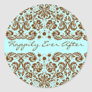 Damask Blue and Brown Wedding Classic Round Sticker