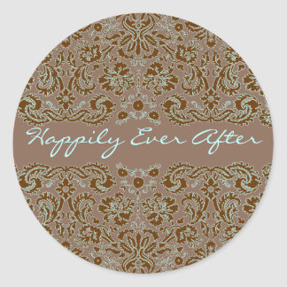 Damask Blue and Brown Wedding More Brown Classic Round Sticker