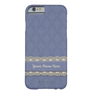Damask Blue and Ecru Barely There iPhone 6 Case