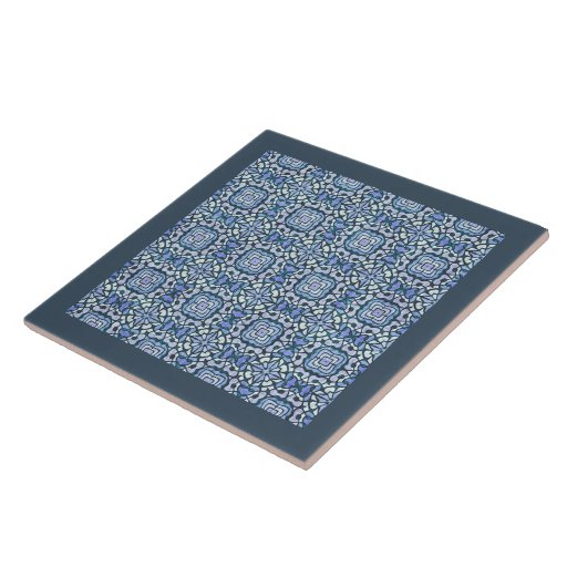 Damask Blue and White Intricate Decorative Pattern Ceramic Tiles