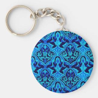 Damask blue basic round button keychain