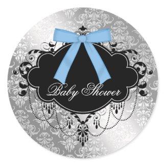 Damask Blue Black Baby Boy Shower Sticker sticker