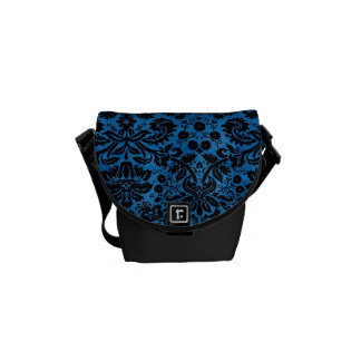 Damask Blue Black Courier Bag