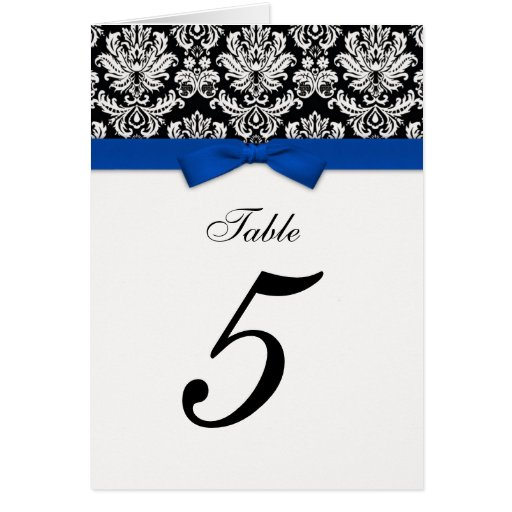Damask Blue Bow Table Seating Number Greeting Card